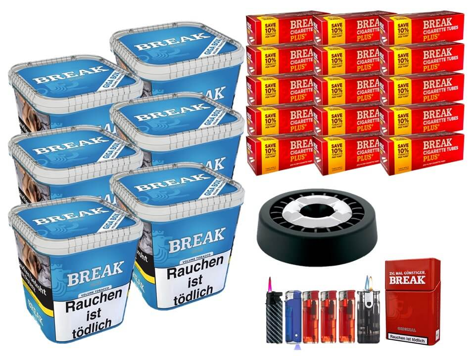 Break Blue / Blau 6 x 240g Volumentabak 3000 Break Xtra Plus Filterhülsen Uvm.