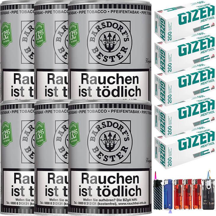 Käptn Barsdorf Bester Bright Virginia 6 x 160g Pfeifentabak 1000 Gizeh Menthol Filterhülsen Uvm.