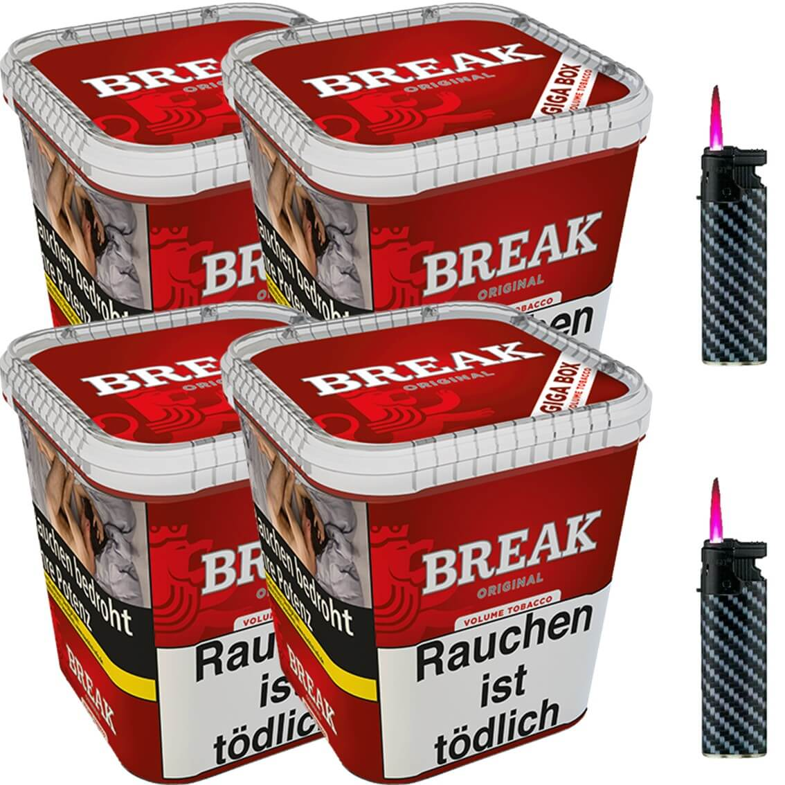Break Original 4 x 240g Volumentabak 2 x Sturmfeuerzeuge