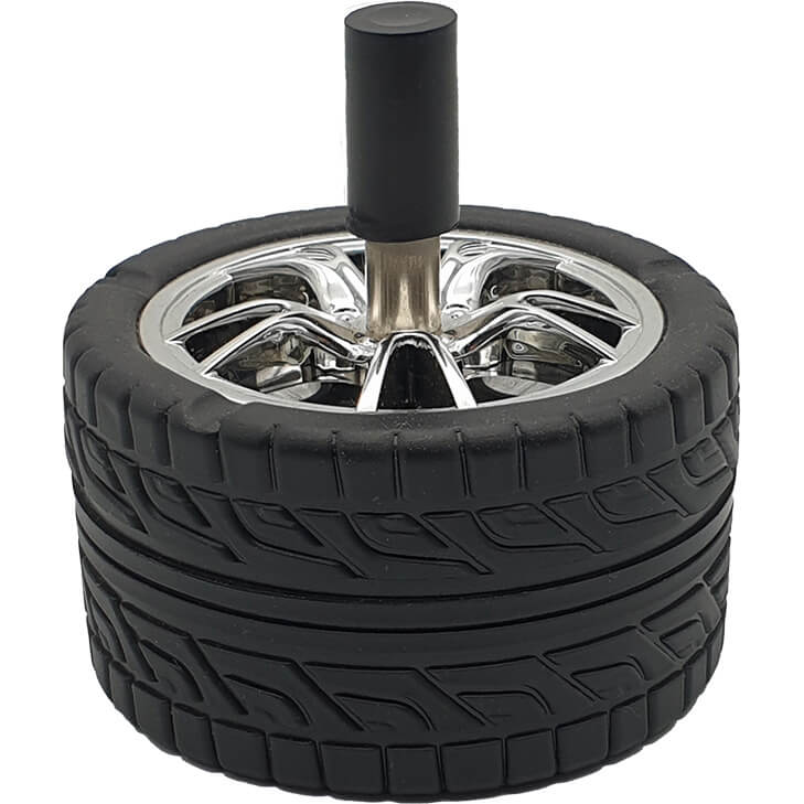 Reifen-Aschenbecher mit Drehscheibe
