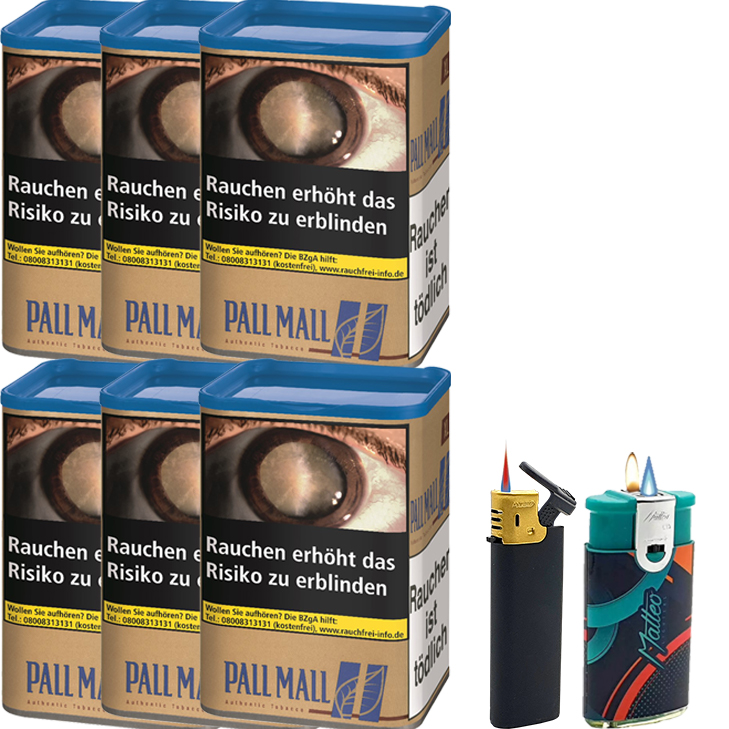 Pall Mall Authentic Blue 6 x 60g mit Feuerzeugen