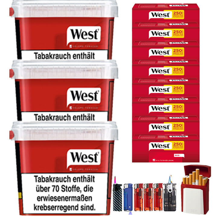 West Red 3 x 300g Volumentabak 2000 West Red Special Size Filterhülsen Uvm.