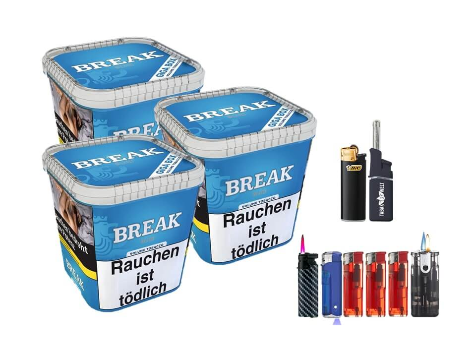 Break Blue / Blau 3 x 240g Volumentabak Feuerzeug Set