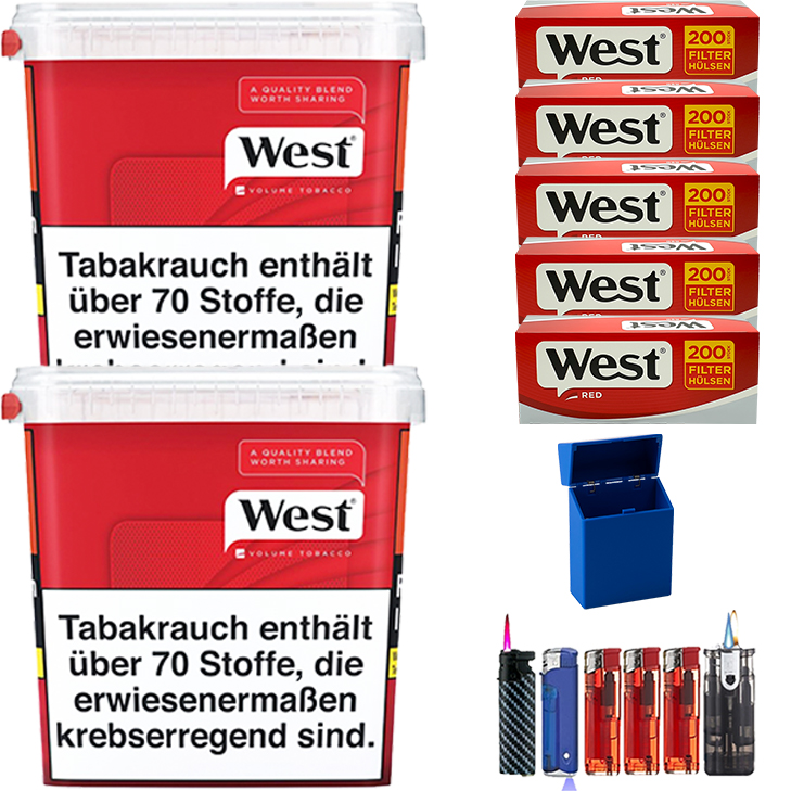 West Red 2 x 300g Volumentabak 1000 West Red Filterhülsen Uvm.