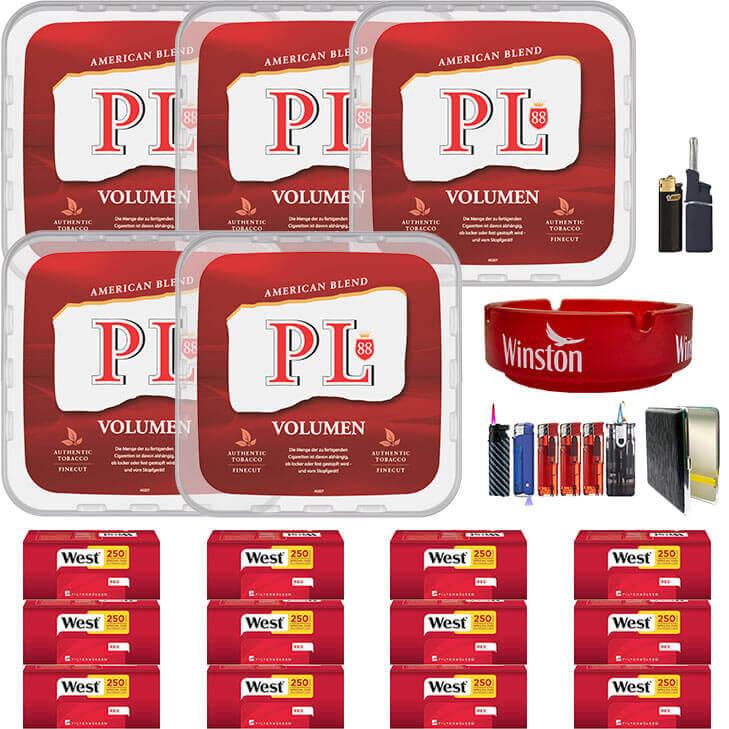 PL88 Red 5 x 400g Volumentabak 3000 Red Special Size Filterhülsen Uvm.