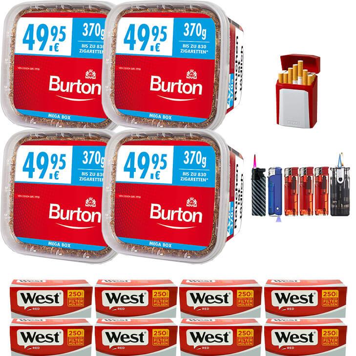 Burton Mega Box 4 x 370g Volumentabak 2000 Special Size Filterhülsen Uvm.