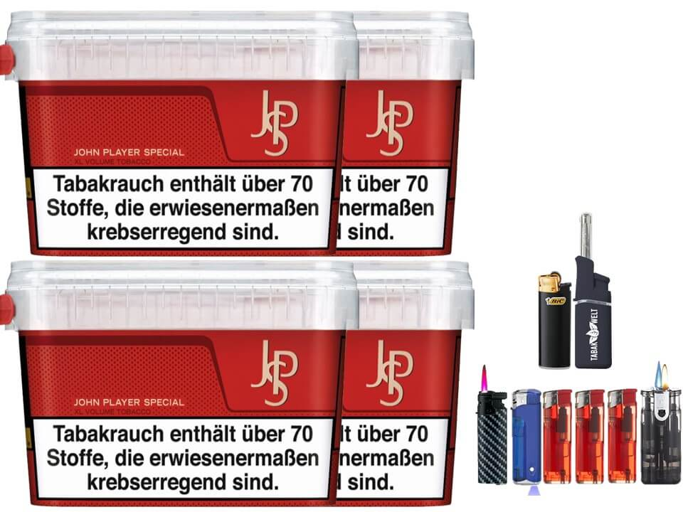 JPS John Player Mega Box 4 x 160g Volumentabak Feuerzeug Set