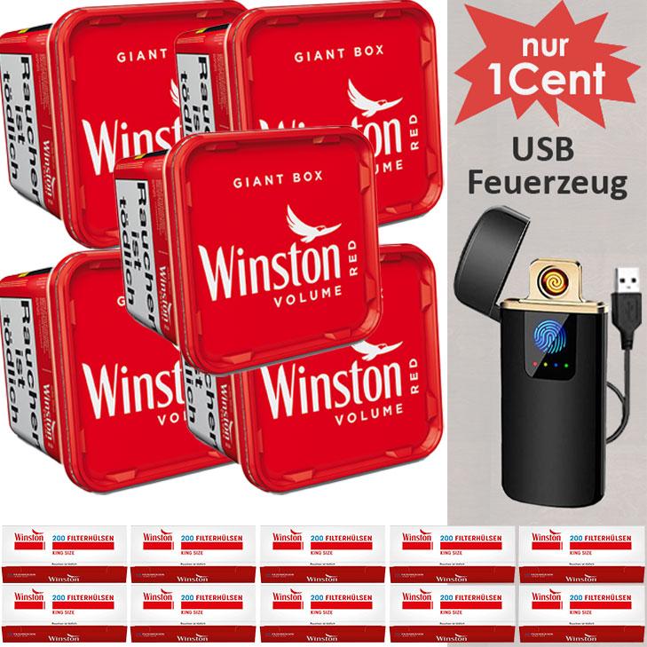 Winston Red 5 x 280g mit 2000 King Size Hülsen und USB Feuerzeug