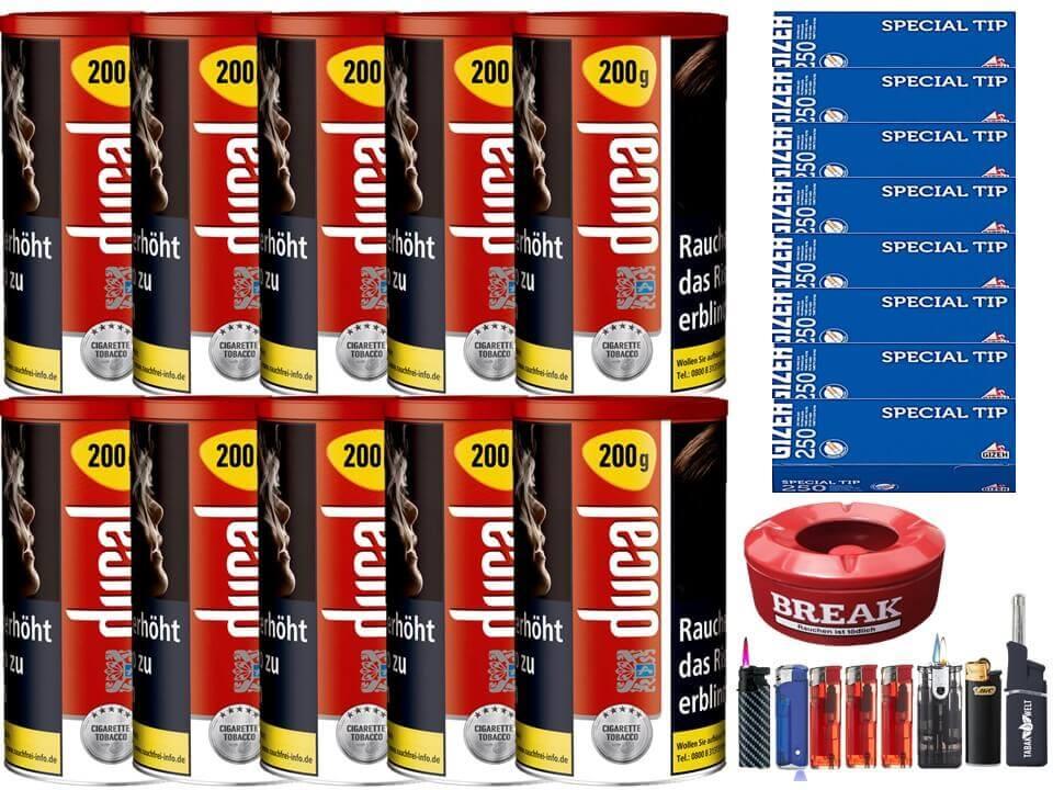 Ducal Red / Rot 10 x 200g Feinschnitt / Zigarettentabak 1000 Filterhülsen Uvm.