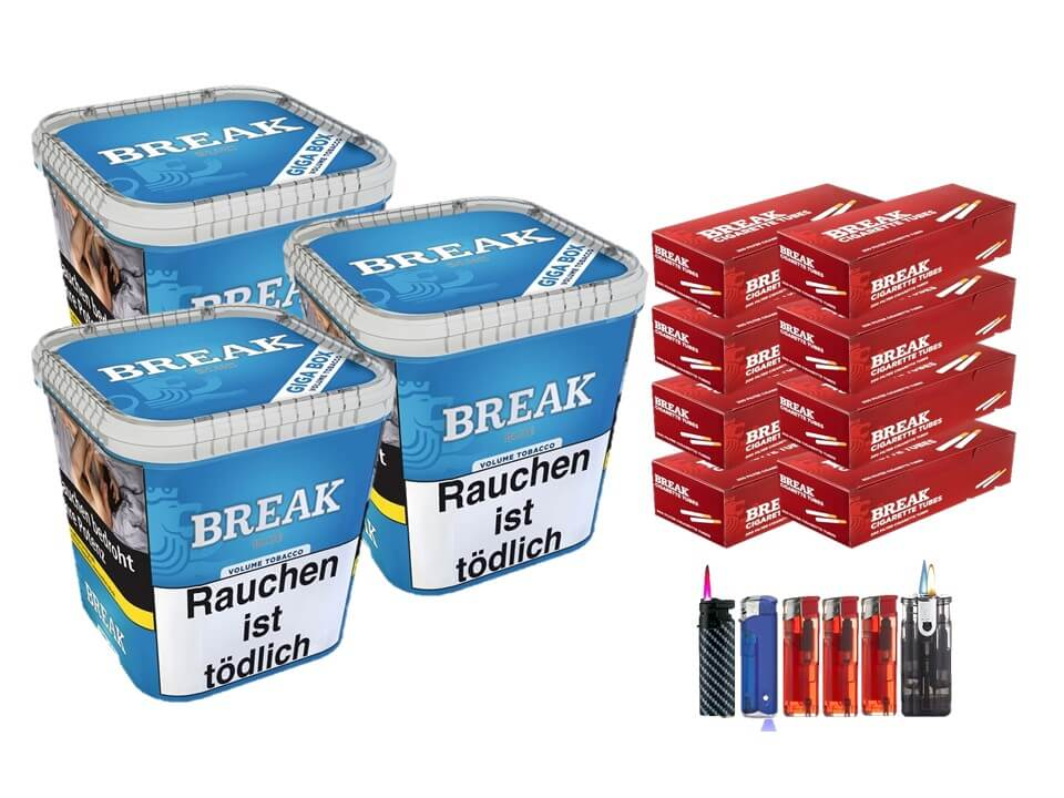 Break Blue / Blau 3 x 240g Volumentabak 1600 Break Filterhülsen Uvm.