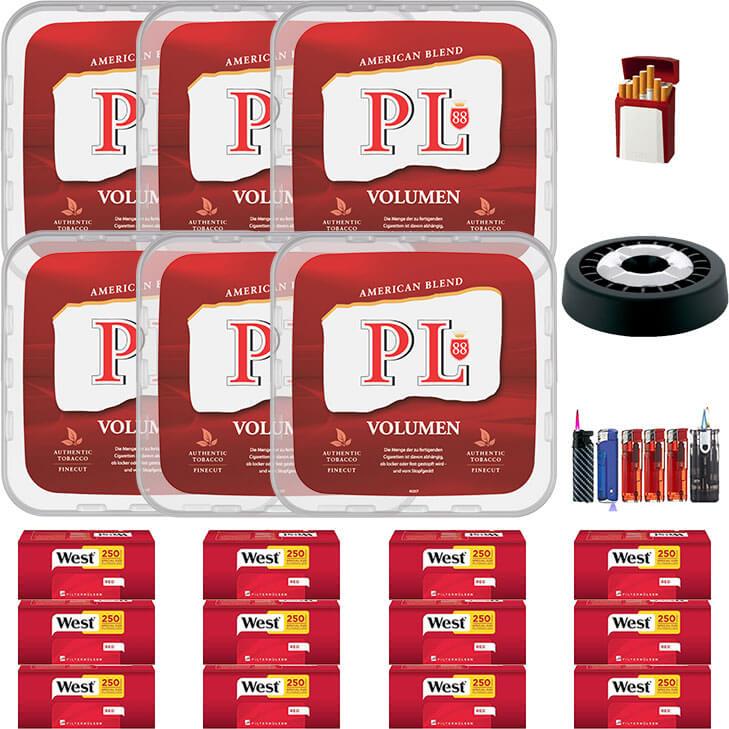 PL88 Red 6 x 400g Volumentabak 3000 Red Special Size Filterhülsen Uvm.