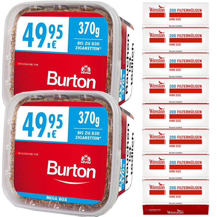 Burton Mega Box 2 x 370g Volumentabak 1600 King Size Filterhülsen Uvm.