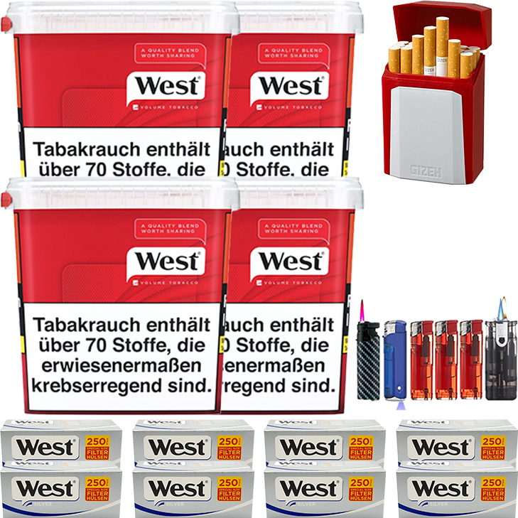 West Red 4 x 280g Volumentabak 2000 West Silver Extra Filterhülsen Uvm.