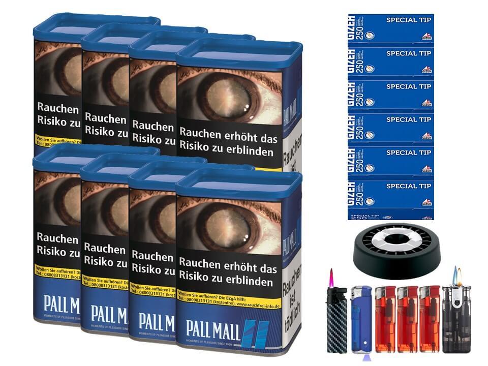 Pall Mall Blue XL 8 x 60g Volumentabak 1500 Filterhülsen Uvm.