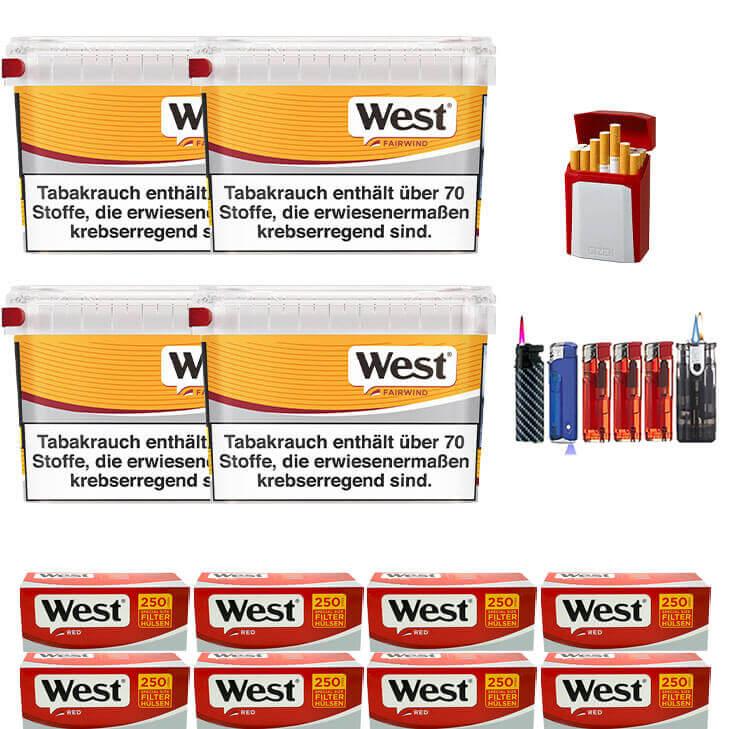 West Yellow 4 x 215g Volumentabak 2000 West Red Special Size Filterhülsen Uvm.