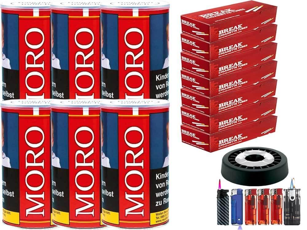 Moro Rot 6 x 200g Feinschnitt-Tabak 1400 Filterhülsen Uvm.