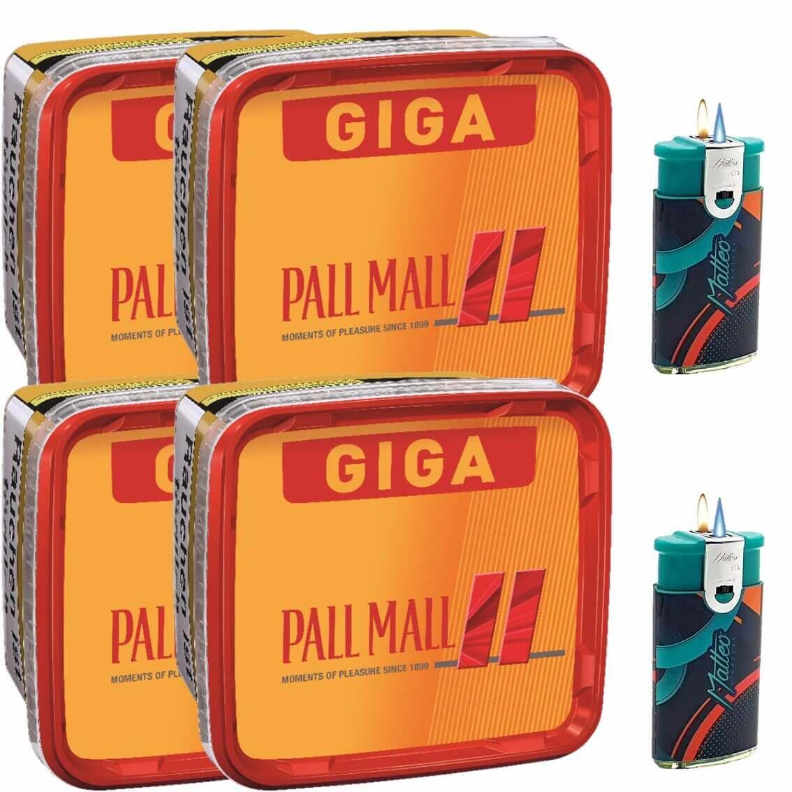 Pall Mall Giga Box 4 x 280g Volumentabak 2 x Duo Feuerzeuge mit 2 Flammen
