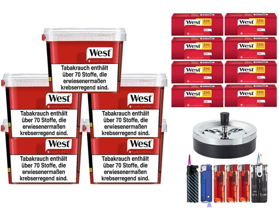 West Red 5 x 170g Volumentabak 2000 West Red Special Size Filterhülsen Uvm.