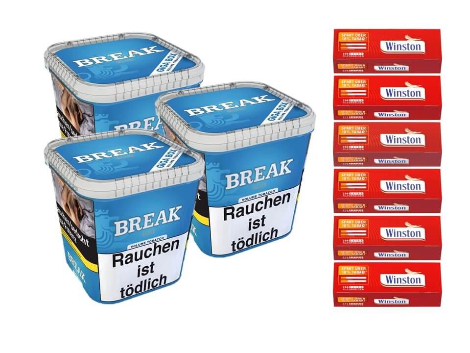 Break Blue / Blau 3 x 240g Volumentabak 1500 Filterhülsen