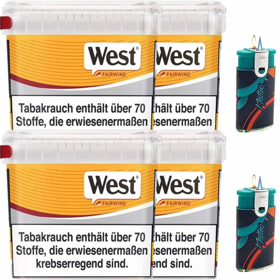 West Yellow Fairwind 4 x 215g Volumentabak 2 x Duo Feuerzeuge mit 2 Flammen