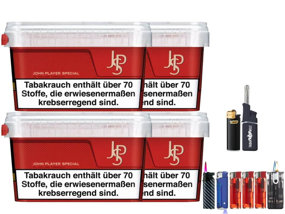 JPS John Player Mega Box 4 x 127g Volumentabak Feuerzeug Set