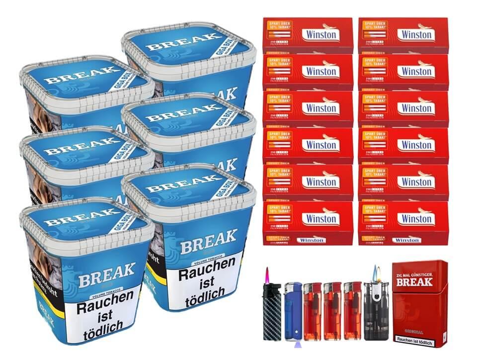 Break Blue / Blau 6 x 240g Volumentabak 3000 Extra Size Filterhülsen Uvm.