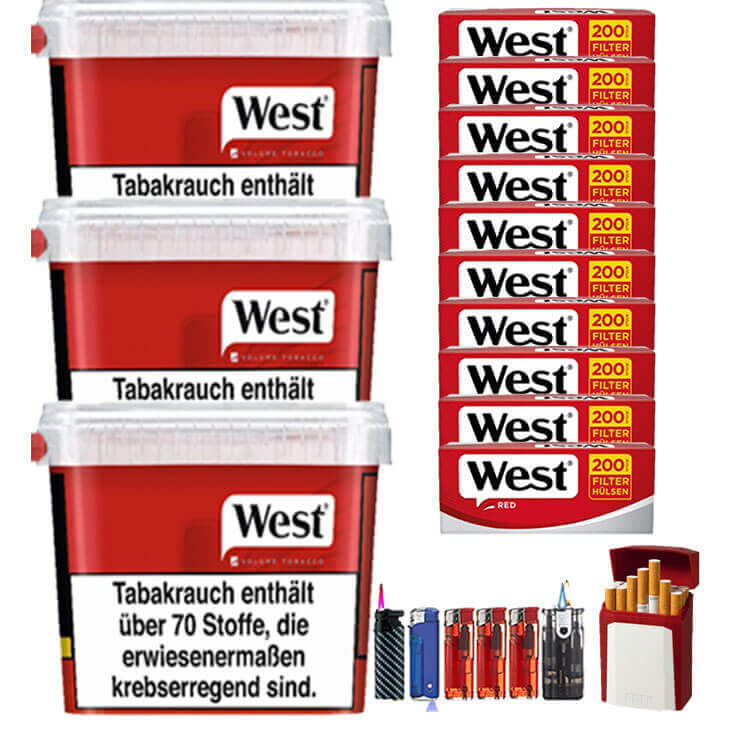 West Red 3 x 300g Volumentabak 2000 West Red Filterhülsen Uvm.