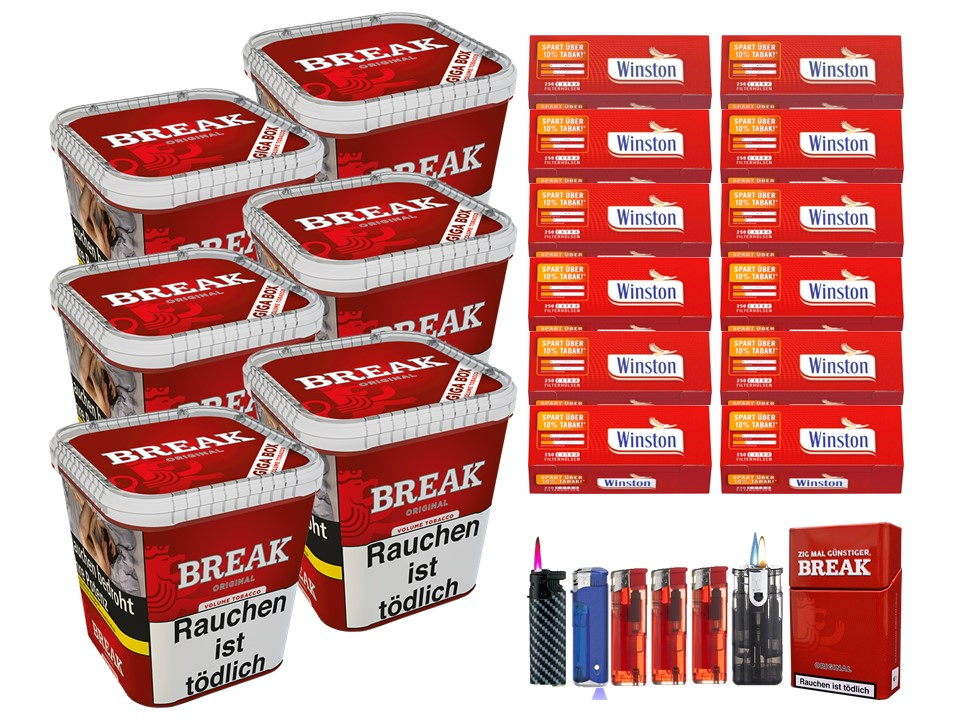 Break Original 6 x 240g Volumentabak 3000 Extra Size Filterhülsen Uvm.