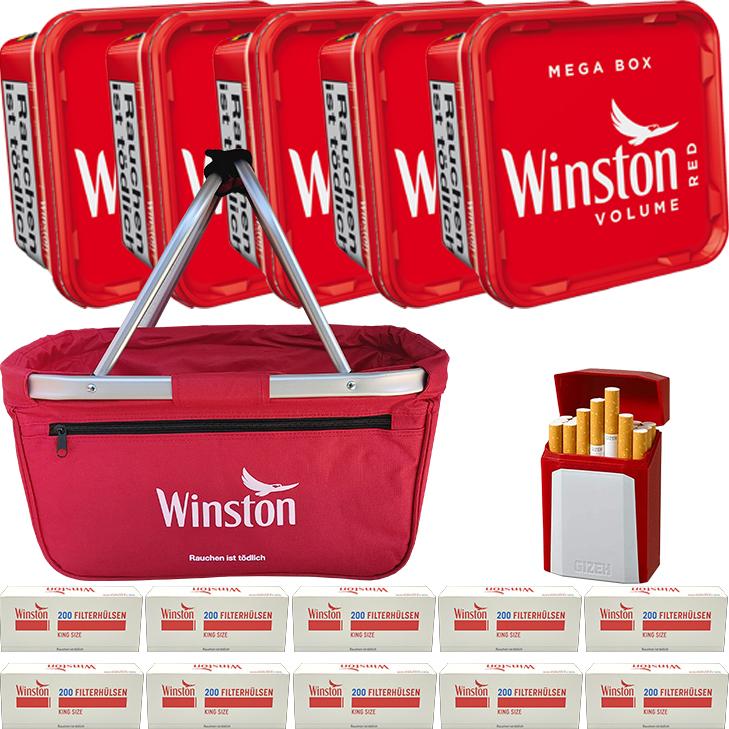 Winston Red 5 x 170g mit 2000 King Size Hülsen