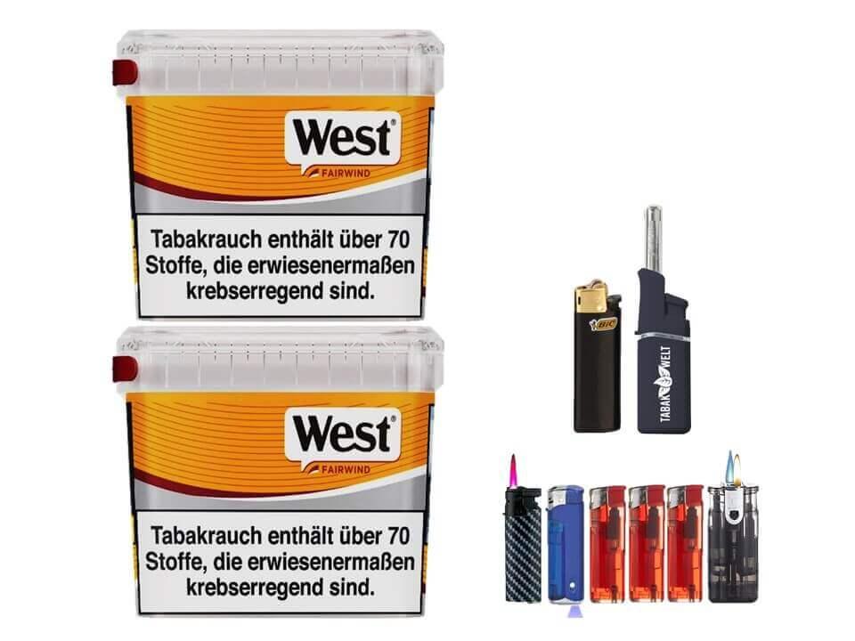 West Yellow Fairwind 2 x 450g Volumentabak Feuerzeug set