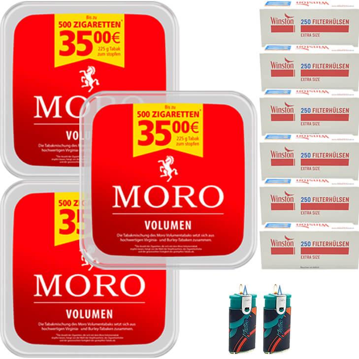 Moro Volumen 3 x 225g mit 1400 Extra Size Hülsen