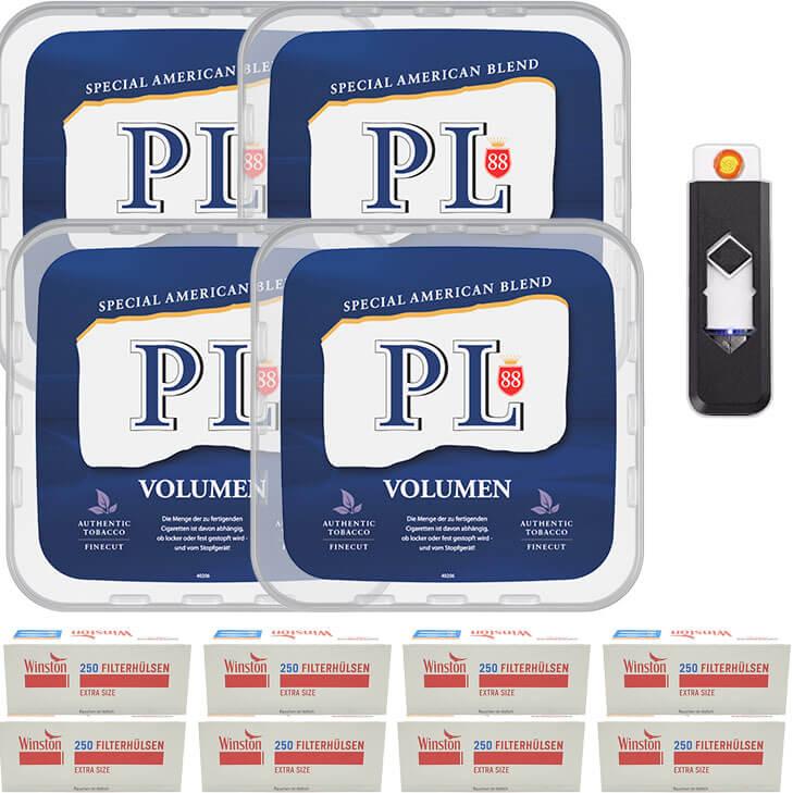 PL88 Blue / Blau 4 x 400g Volumentabak 2000 Extra Size Filterhülsen