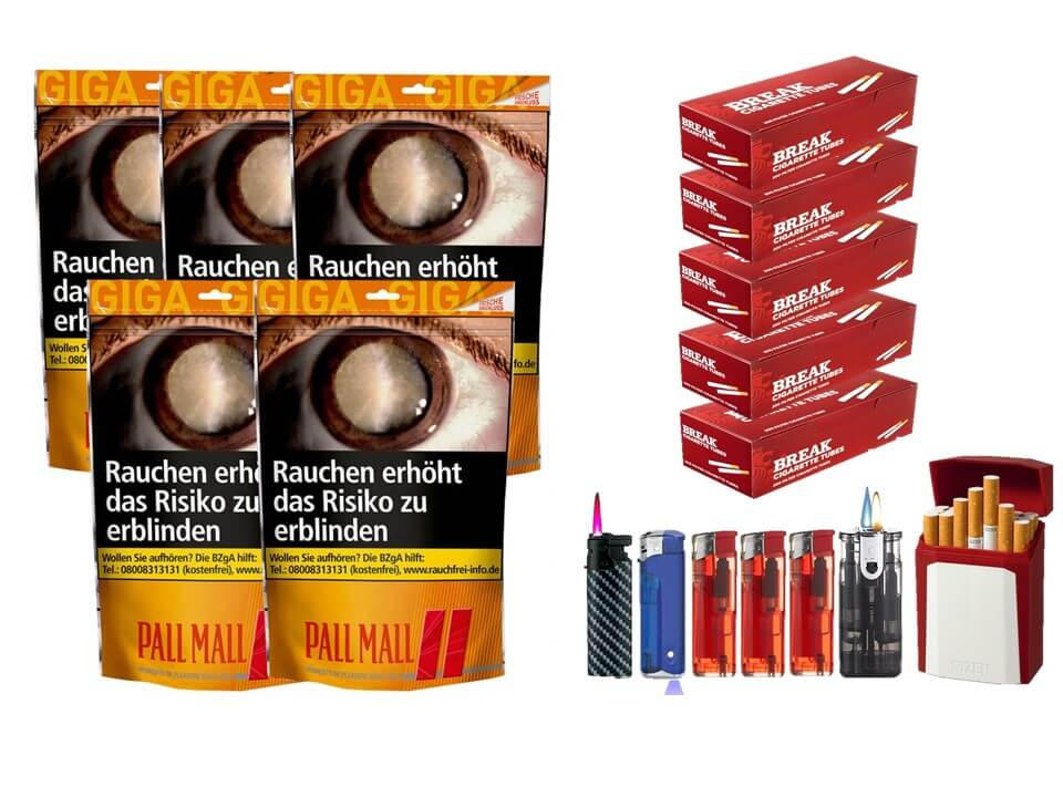 Pall Mall Allround Red Beutel 5 x 135g mit 1000 King Size Hülsen