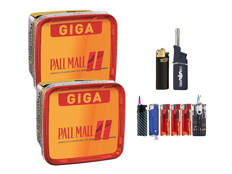 Pall Mall Giga Box 2 x 280g Volumentabak Feuerzeug set