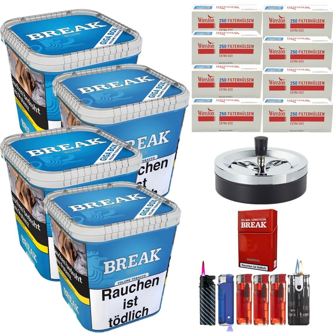 Break Blue / Blau 4 x 230g Volumentabak 2000 Extra Size Filterhülsen Uvm.