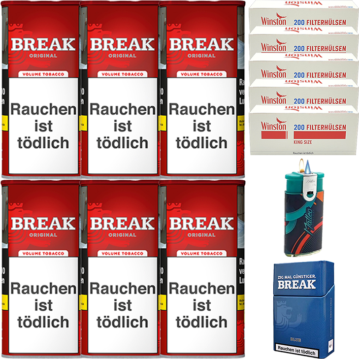 Break Original 6 x 120g mit 1000 King Size Hülsen