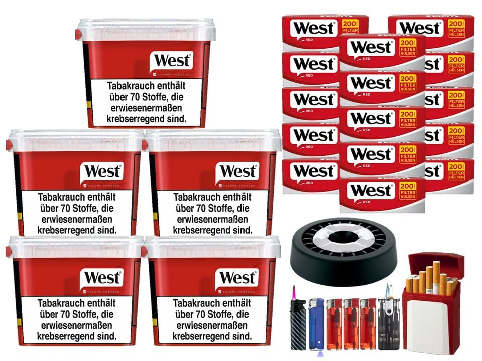 West Red 5 x 300g Volumentabak 3000 West Red Filterhülsen Uvm.