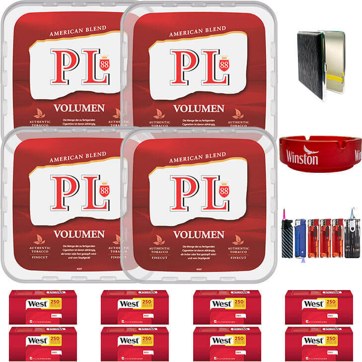 PL88 Red 4 x 400g Volumentabak 2000 Special Size Filterhülsen Uvm.