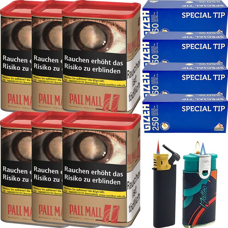 Pall Mall Authentic Red 6 x 60g mit 1000 Special Tip King Size Hülsen
