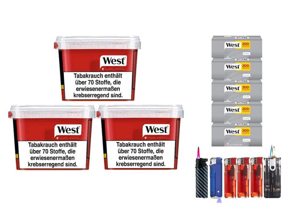 West Red 3 x 170g Volumentabak 1000 West Silver Filterhülsen Uvm.