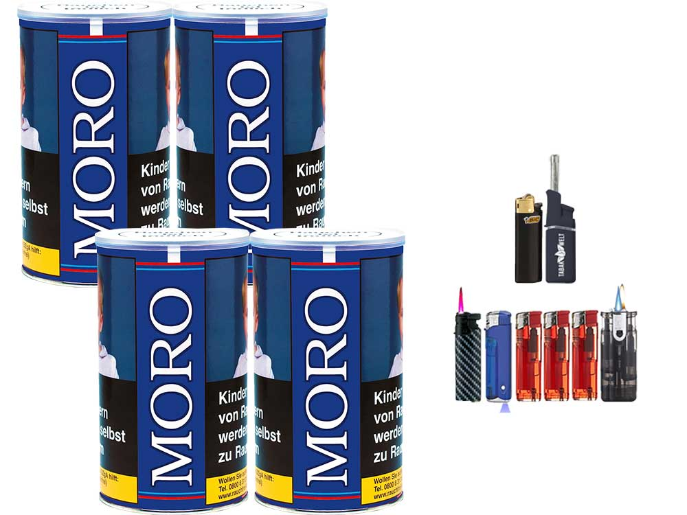 Moro Blau 4 x 200g Feinschnitt-Tabak Feuerzeug Set