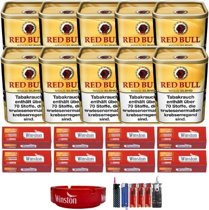 Red Bull Gold Blend 10 x 120g Feinschnitt 2000 Extra Size Filterhülsen Uvm.