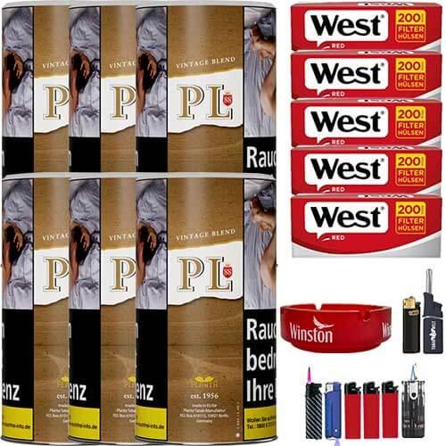 PL88 Authentic ohne Zusatzstoffe Just Tabak 6 x 200g mit 1000 Hülsen