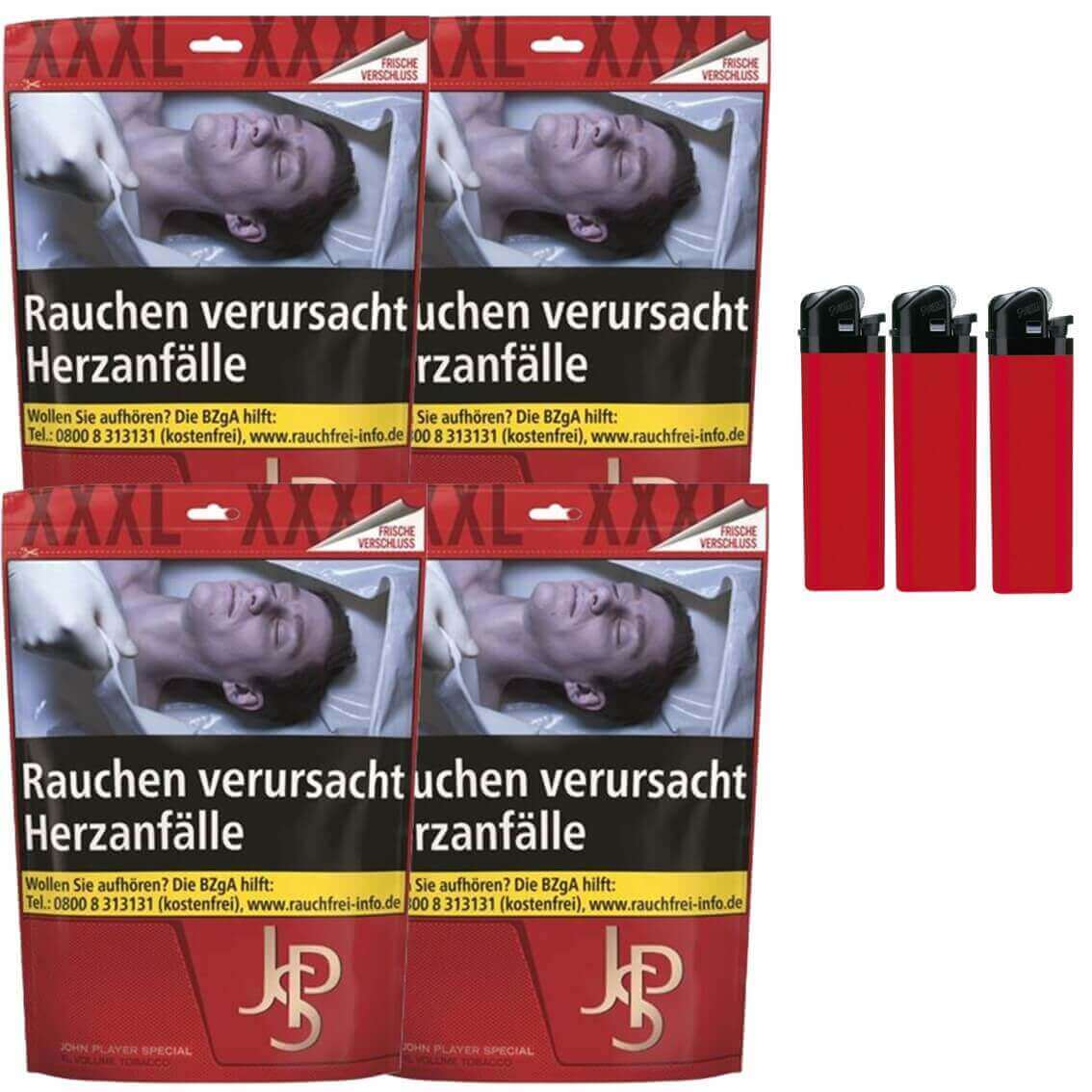 JPS John Player Mega Box 4 x 100g Volumentabak Feuerzeuge