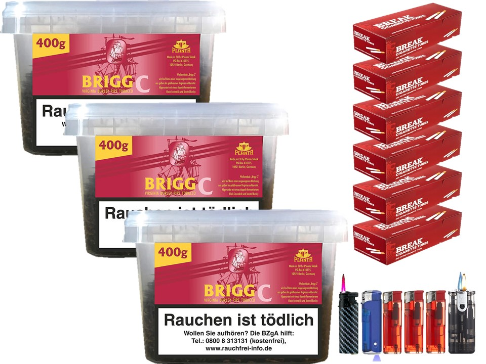 Brigg C 3 x 400g Pfeifentabak 1200 Filterhülsen Uvm.