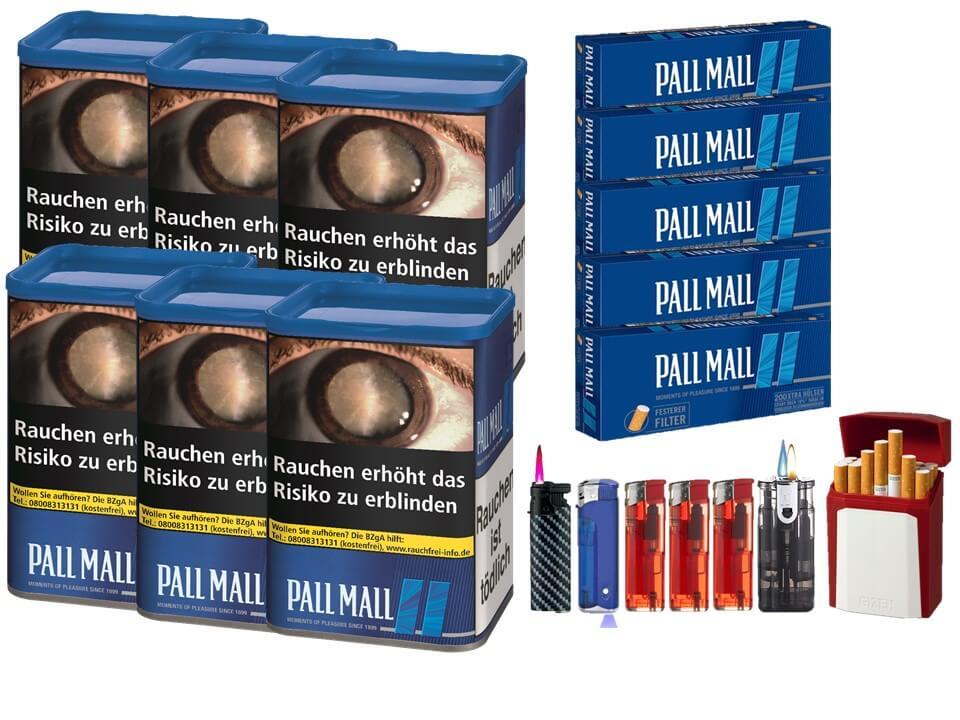 Pall Mall Blue XL 6 x 60g Volumentabak 1000 Filterhülsen Uvm.