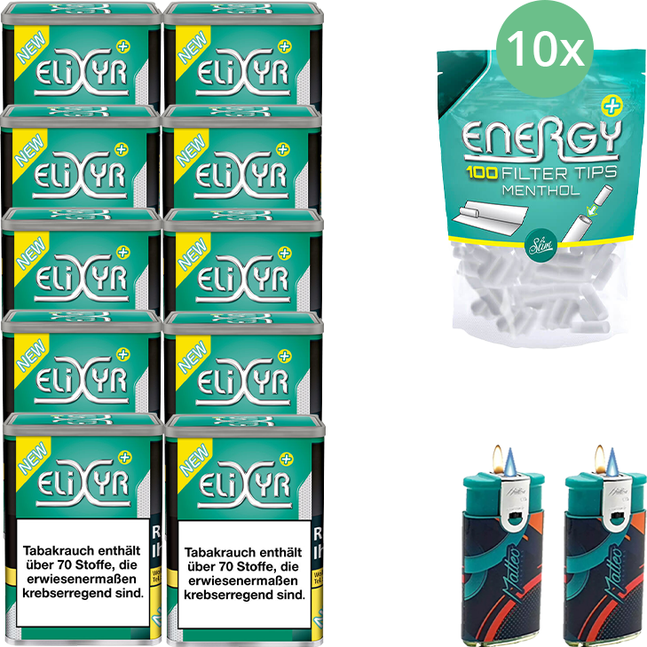 Elixyr Plus 10 x 115g mit Energy Plus Filter Menthol