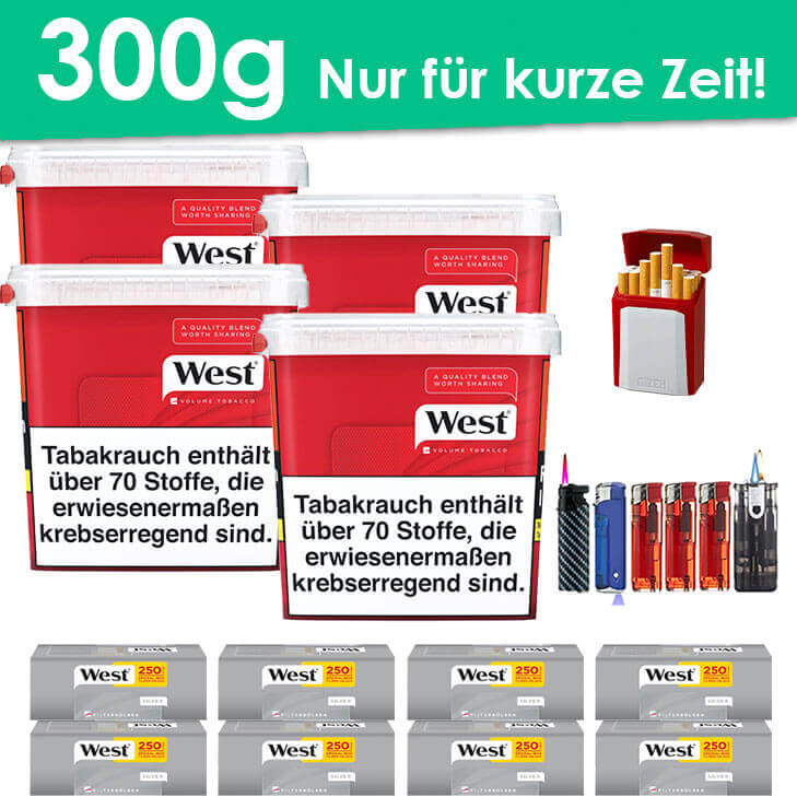 West Red 4 x 300g Volumentabak 2000 West Silver Extra Filterhülsen Uvm.