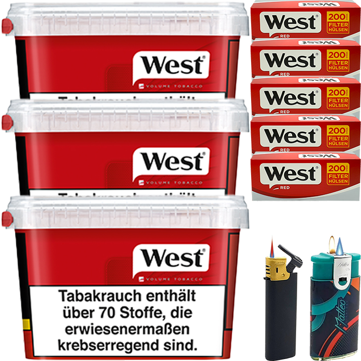West Red 3 x 170g mit 1000 King Size Hülsen