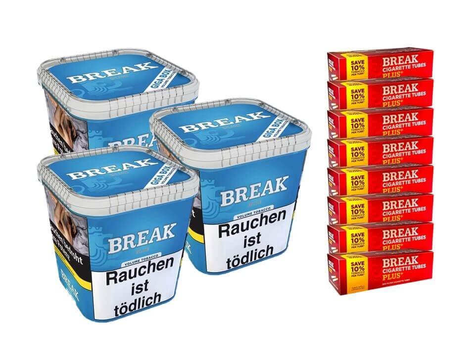 Break Blue / Blau 3 x 240g Volumentabak 1600 Break Xtra Plus Filterhülsen